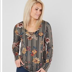 Tops - Day trip Floral Striped Shirt